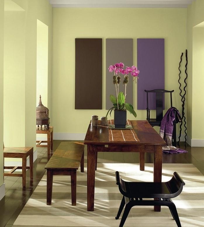 peinture-salle-à-manger-jaune-petit-banc-tabouret-table-en-bois-déco-simple