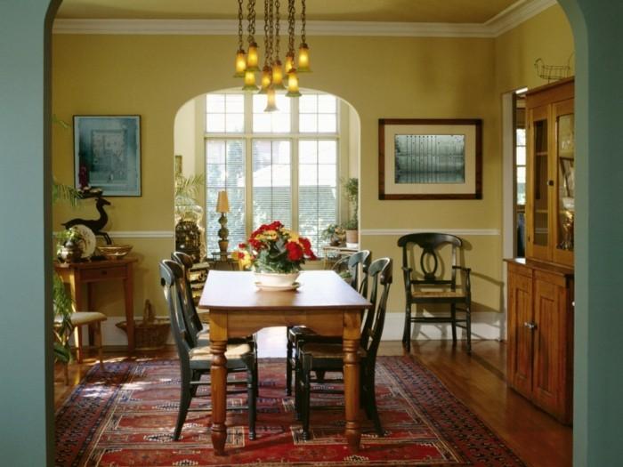 Peinture salle manger 77 id es charmantes for Modele deco papier peint salle a manger