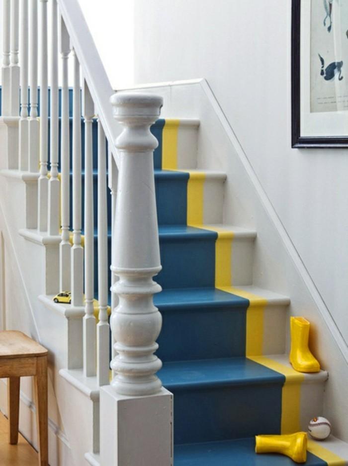 repeindre-un-escalier-de-manière-originale-peinture-escalier-tropme-l'oeil-en-bandes