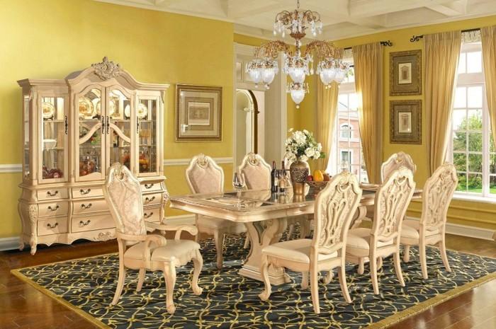 sublime-decoration-salle-a-manger-jaune-table-chaises-et-vaisselier-vintage-style-exubérent
