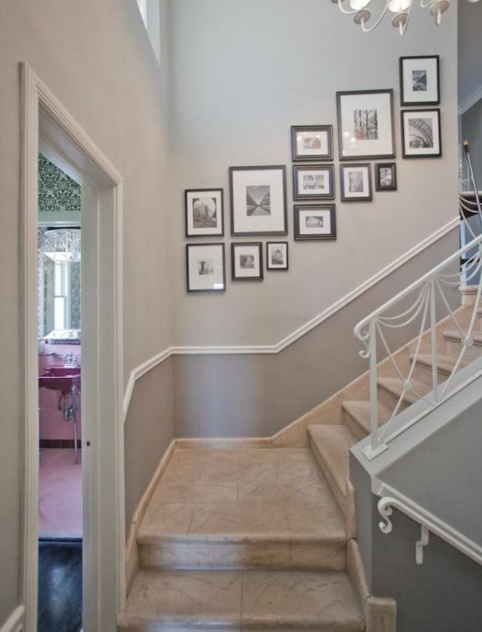 idee-deco-escalier-quart-tournant-déco-avec-de-vieilles-photos
