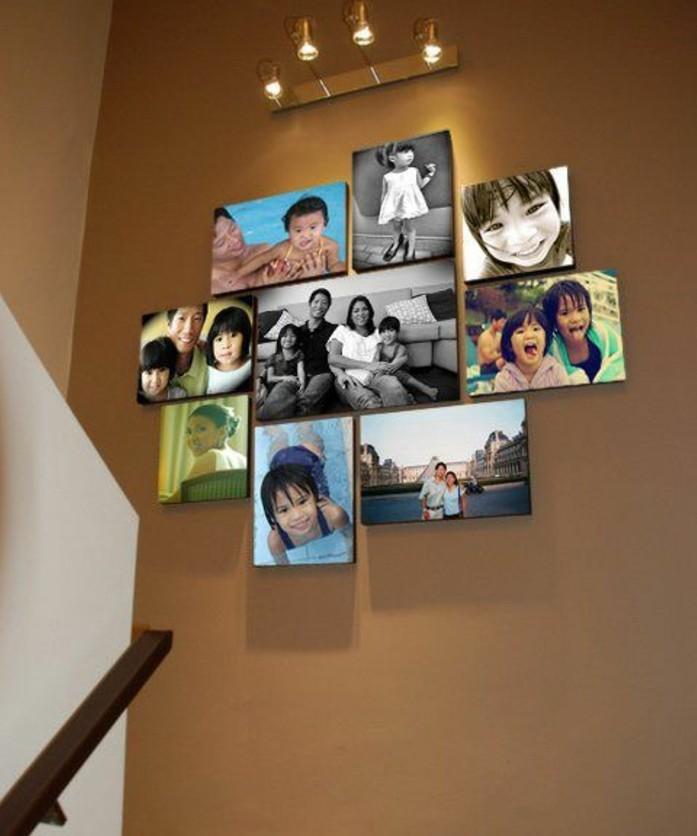 intéressante-idee-deco-escalier-avec-des-photos-de-famille-éclairées-par-des-appliques