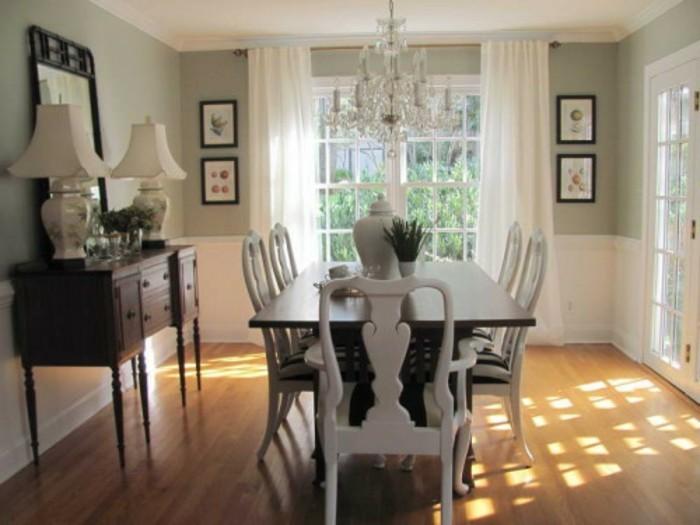 peinture-salle-à-manger-verte-table-en-bois-marron-chaises-en-noir-et-blanc-déco-style-vintage