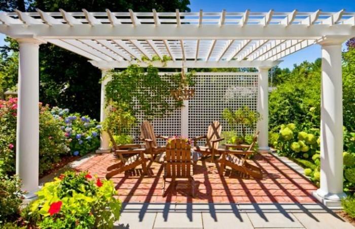 pergola-aluminium-autoportée-aménagement-avec-des-meubles-en-bois-plante-grimpante-pergola-entourée-de-verdure