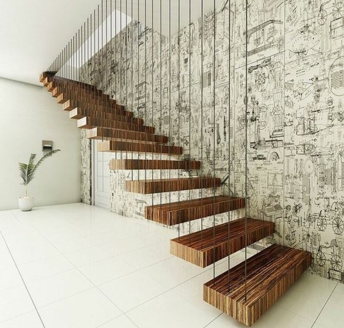 escalier-moderne-design-escalier-suspendu-en-bois-escalier-flottant