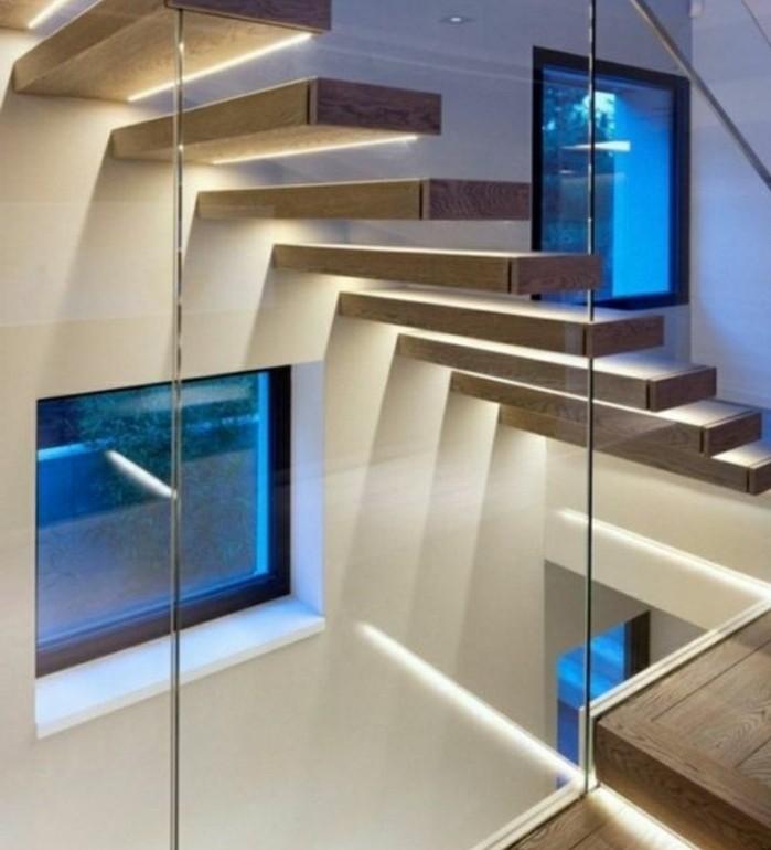 escalier-moderne-escalier-suspendu-en-bois-éclairage-escalier-LED