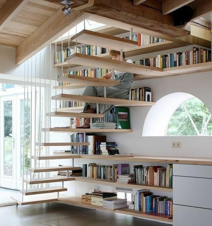 escalier moderne-joli-design-escalier-suspendu-en-bois