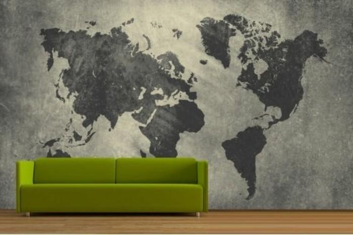 70-Papier peint couloir. Carte geographique