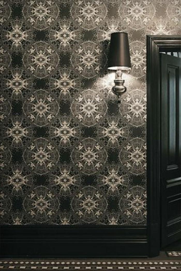 71-Papier peint couloir en noir et en gris.