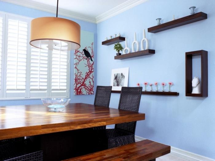 decoration-salle-a-manger-contemporaine-table-en-bois-chaises-en-rotin-banc-en-bois-formidables-éléments-décoratifs