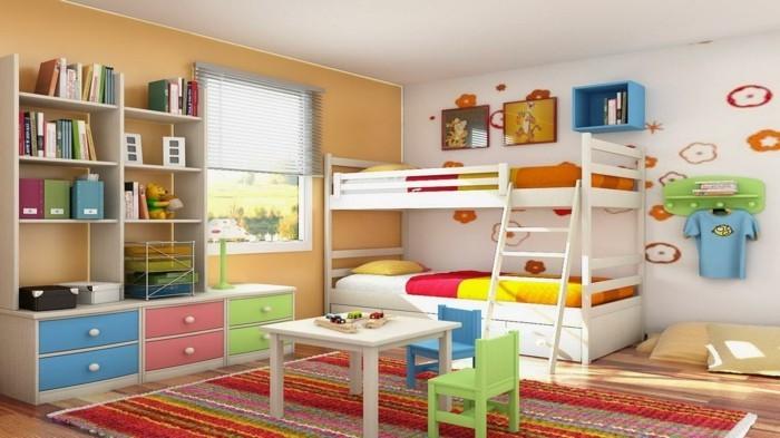 magnifique-idee-peinture-chambre-enfant-une-véritable-explosion-de-couleurs-peinture-murale-en-jaune-et-blanc
