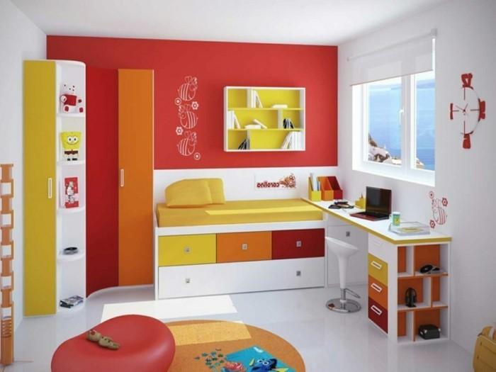 peinture-chambre-enfant-blanche-plus-mur-d-accent-rouge-déco-de-couleurs-rouge-orange-jaune