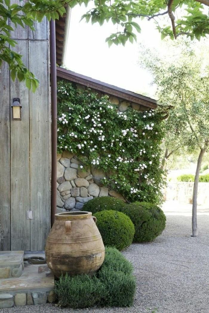 83-Murs de cloture. Buis. Plantes vertes. Un grand pot.