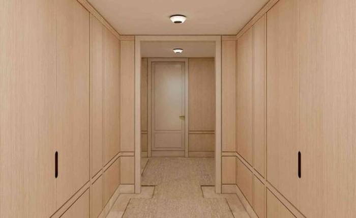 83-Tapisserie couloir en beige