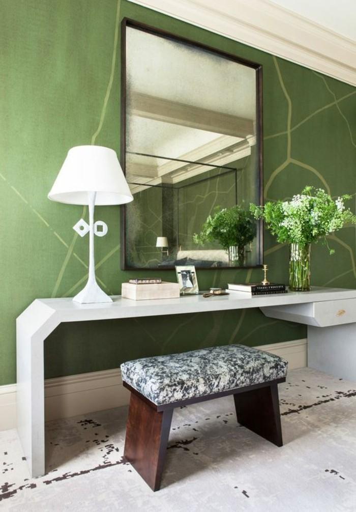 84-Tapisserie couloir couleur verte