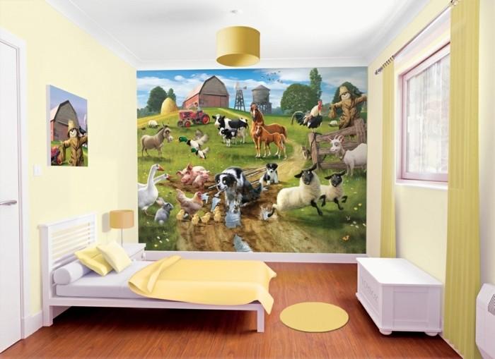 deco-chambre-enfant-peinture-jaune-avec-un-mur-d-accent-représentant-un-joyeux-dessin-pastoral-représentant-de-différentes-animaux