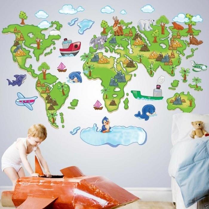deco-chambre-enfant-stickers-muraux-3D-représentant-les-sept-continents-un-univers-où-l-enfant-peut-jouer-tout-en-apprenant
