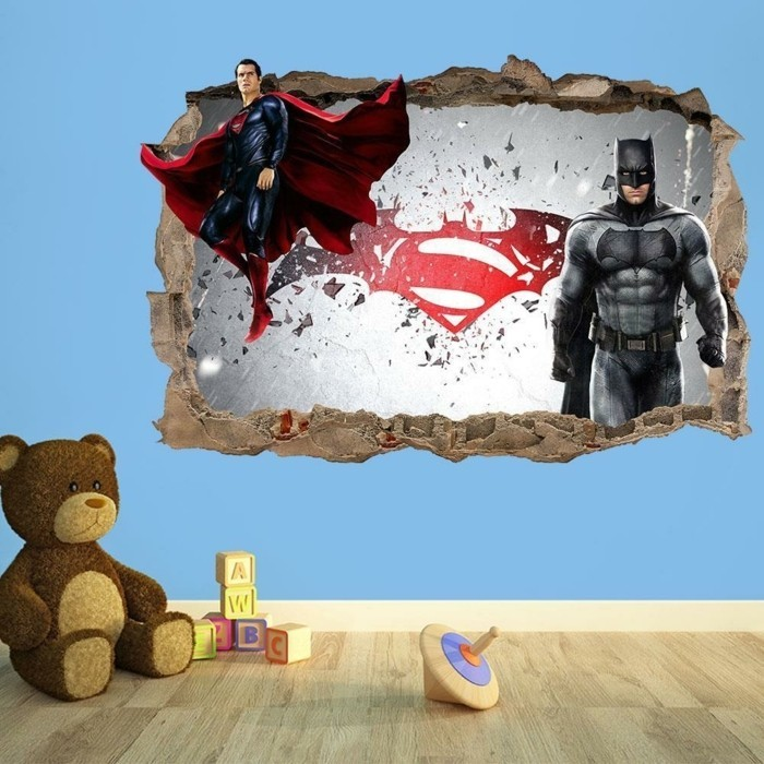 deco-chambre-garcon-superbe-sricker-mural-3D-superman-vs-batman