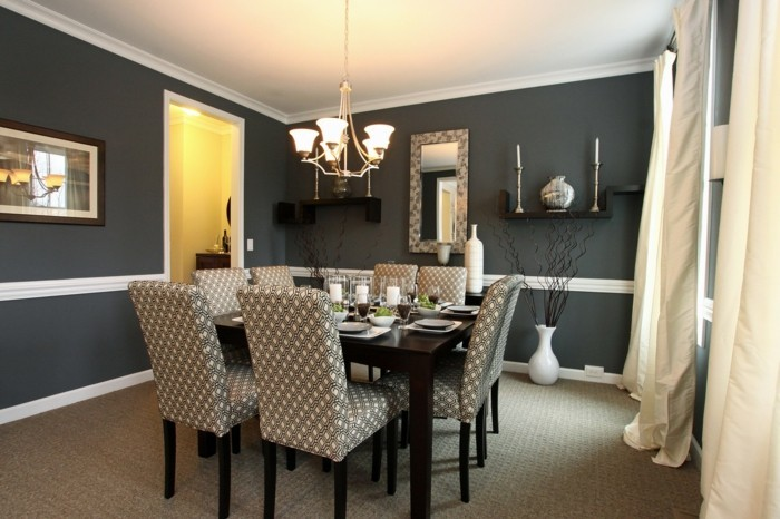 deco-salle-a-manger-gris-foncé-table-en-bois-salle-à-manger-élégante