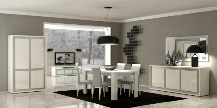 Idee deco salle a manger grise et prune for Decoration salle a manger gris et blanc