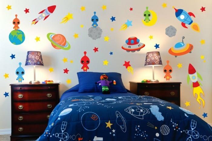 deco-chambre-garcon-inspirée-du-thème-du-cosmos-et-de-l-univers-idee-déco-très-originale
