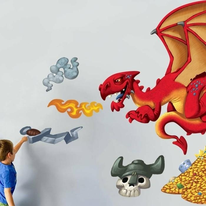 formidable-suggestion-deco-chambre-garcon-avec-des-stickers-muraux-inspirés-du-thème-des-dragons-et-des-trésors-cachés