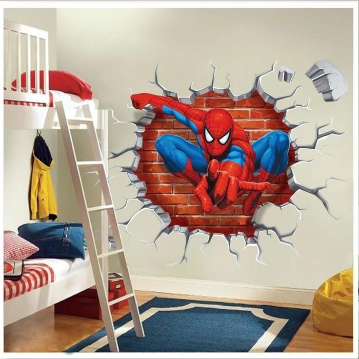 idee-très-originale-sticker-mural-3D-spiderman-suggestion-idéale-pour-votre-petit-garçon