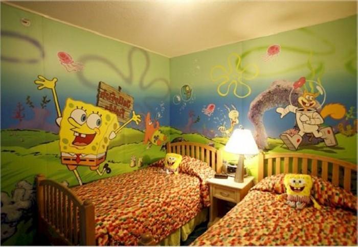 peinture-chambre-enfant-joyeuse-inspirée-du-personnage-bob-l-eponge