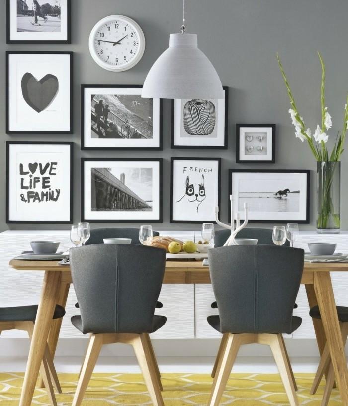 peinture-salle-à-manger-grise-table-en-bois-chaises-en-bois-avec-sièges-couleur-grise-belle-déco-murale-salle-à-manger-style-scandinave