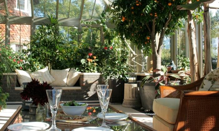 une-magnifique-orangerie-aménagée-avec-beaucoup-de-plantes-table-en-verre-canapé-en-rotin