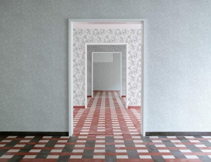 97-Tapisserie couloir en couleur grise.