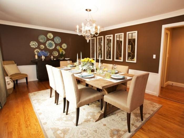 peinture-salle-a-manger-marron-plusieurs-miroirs-lustre-élégant-déco-murale-très-originale