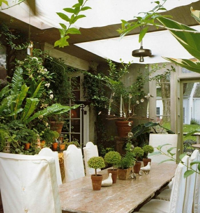 amenagement-veranda-salle-à-manger-entourée-de-verdure-