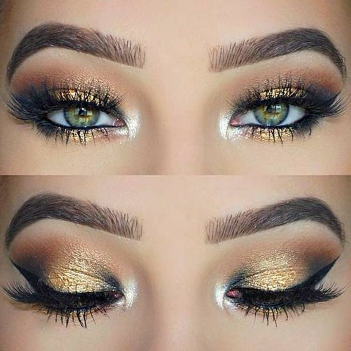 comment-maquiller-les-yeux-verts-fard-a-paupières-en-or-idee-maquillage-original
