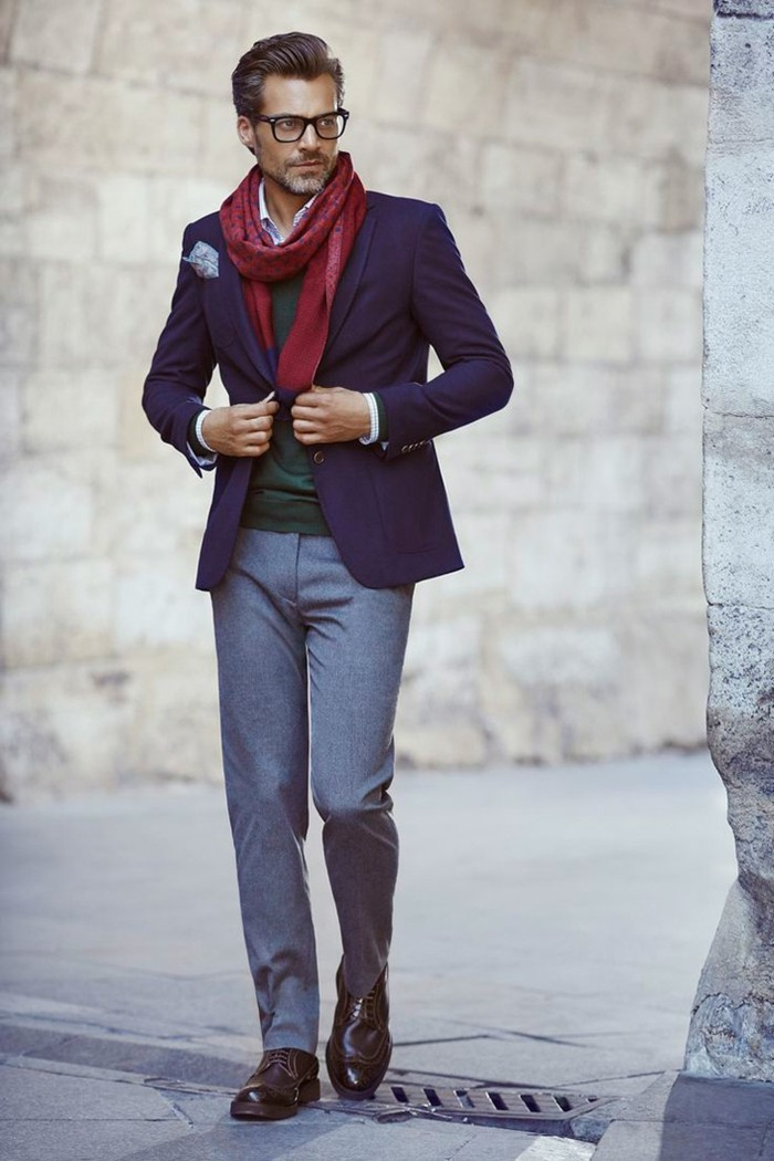 comment-porter-costume-homme-zara-costume-rouge-écharpe