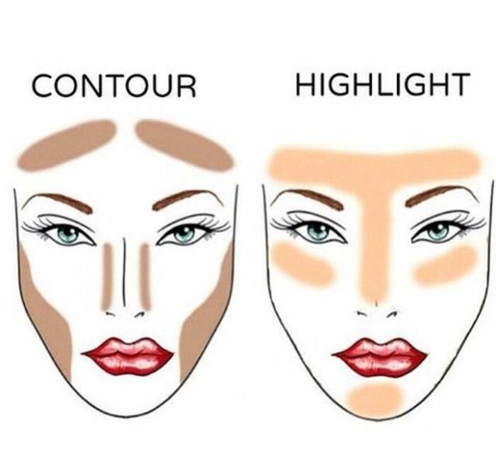 contouring-visage-idee-contouring-visage-avec-fond-de-teint-