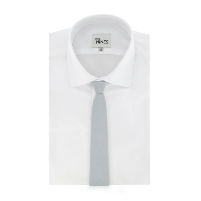 cravate-gris-perle-pour-homme-habillé-en-soie-nattée