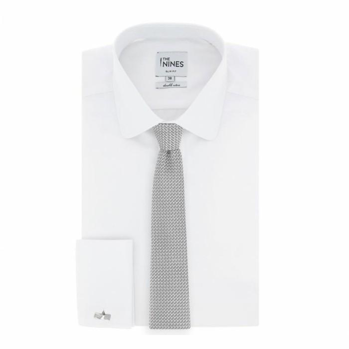 cravate-pour-hommegrenadine-de-soie-grise-the-nines