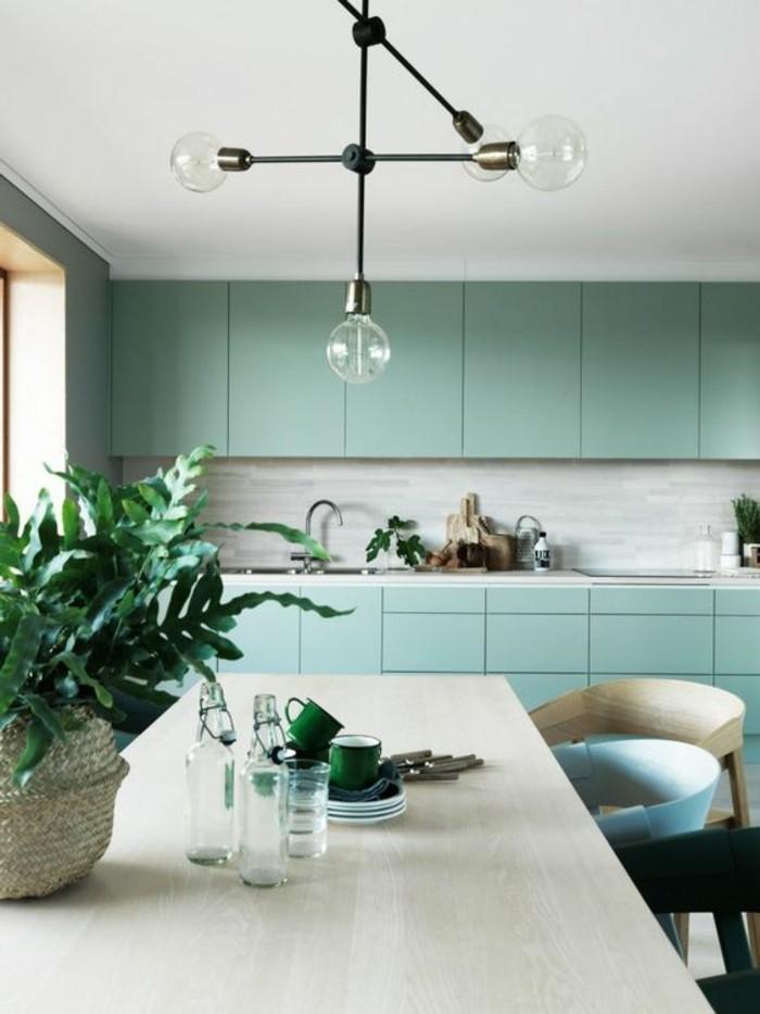 cuisine-en-vert-marin-meubles-scandinaves-idee-eclairage-design-pas-cher