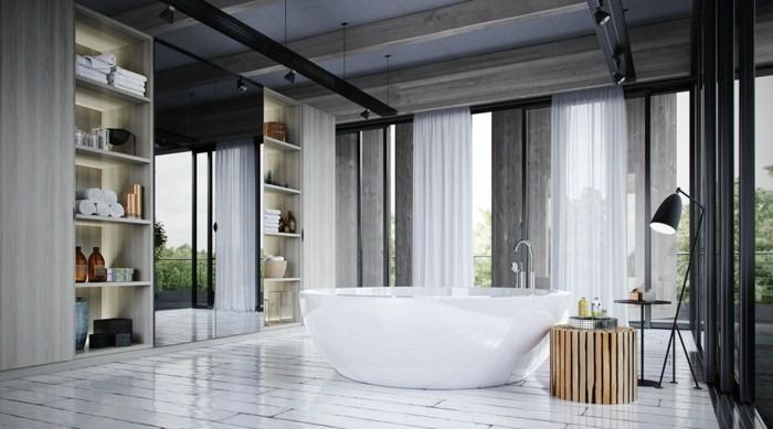 déco-salle-de-bain-gros-meubles-de-rangement-baignoire-à-poser-posé-dans-le-centre-décor-en-blanc-gris