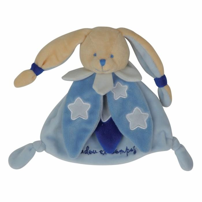 doudou-bébé-Aubert-lapin-en-bleu-et-blanc-resized