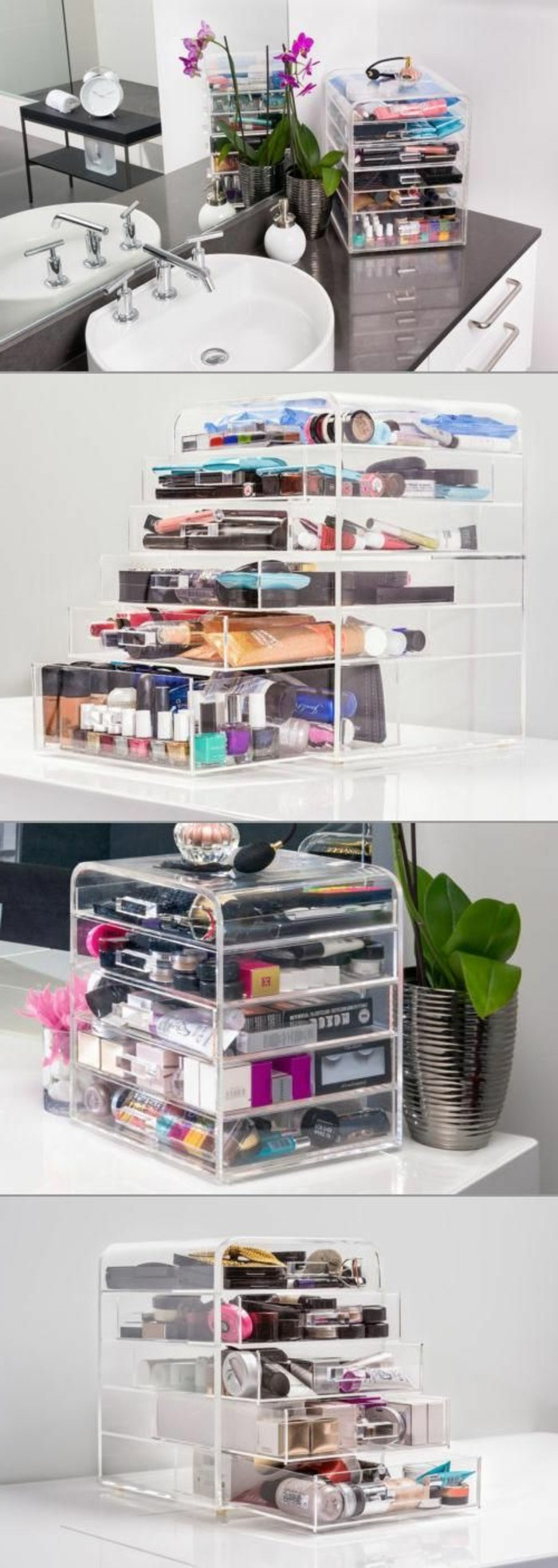 52 id es de rangement make up en photos et vid os. Black Bedroom Furniture Sets. Home Design Ideas