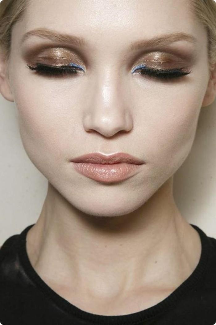 joli-maquillage-en-beige-doré-fard-a-paupiere-yeux-bleus-tuto-maquillage-yeux-bleus