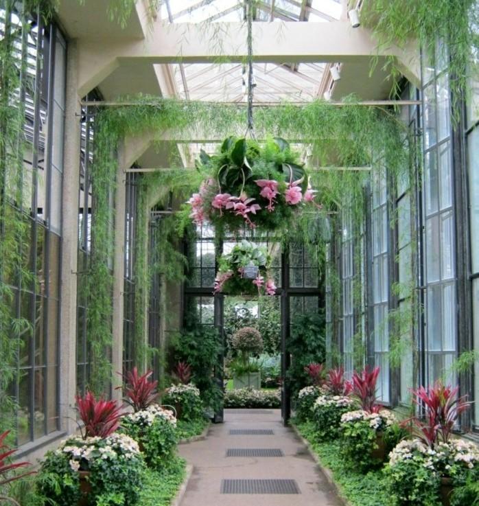 jolie-suggestion-veranda-contemporaine-aménagé-en-jardin-avec-des-plantes-et-des-fleurs