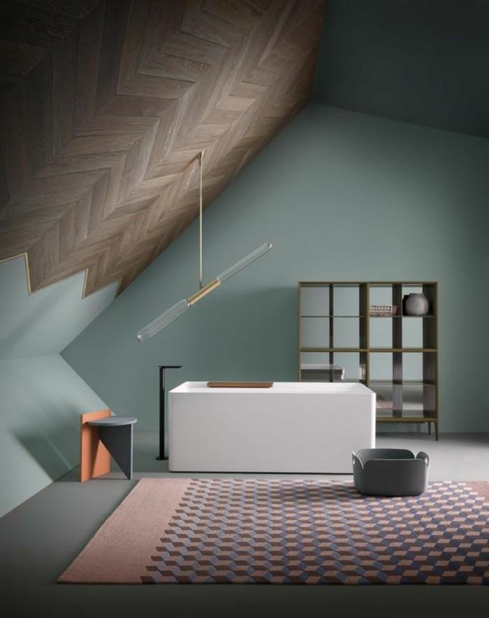 lampe-design-contemporain-murs-en-bleu-vert-couleurs-pastel-dans-l-interieur-chic-et-moderne