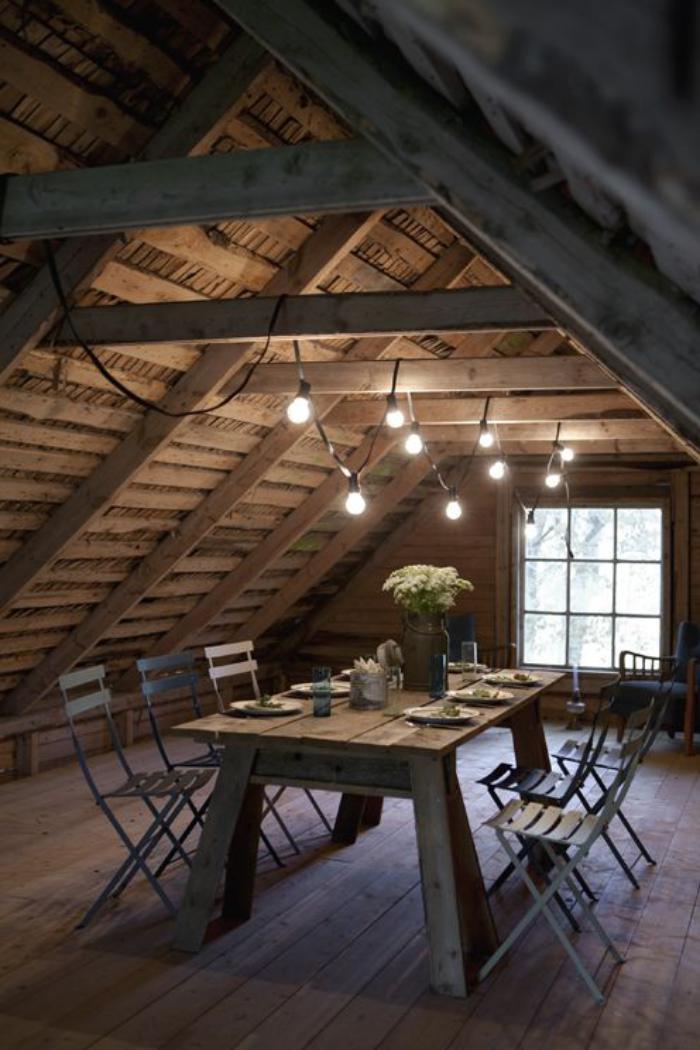 luminaire-de-salle-à-manger-int&rieur-style-chalet-éclairage-avec-ampoules