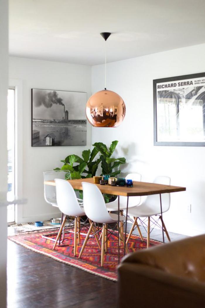 luminaire-de-salle-à-manger-lampe-cuivrée-suspendue