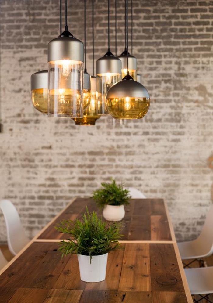 luminaire-de-salle-à-manger-lampes-suspendues-en-verre-et-métal