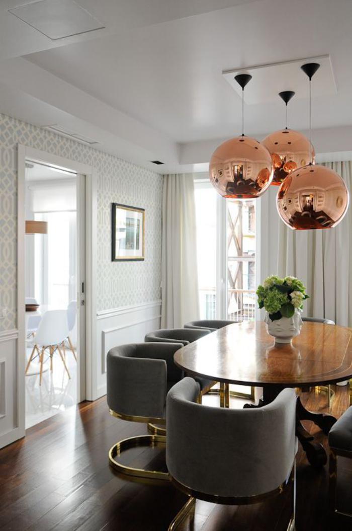 luminaire-de-salle-à-manger-trois-lampes-cuivrées-pour-salle-à-manger