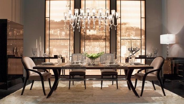 magnifique-suggestion-decoration-salle-a-manger-grise-modele-salle-a-manger-luxe-table-en-bois-chaises-design-simple-et-élégant-lustre-somptueux